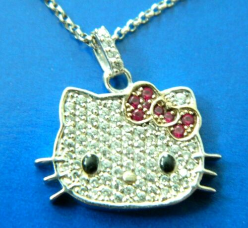 HELLO KITTY SANRIO CZ RUBY 925 STERLING SILVER PENDANT NECKLACE RETIRED JEWELRY