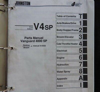 Johnston V4sp Vanguard 4000 Sp Perkins Series Street Sweeper Broom Parts Catalog