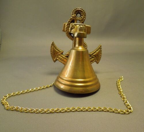 Vintage Nautical Maritime Navy Anchor Ship Bell with Chain - Wall Anchor