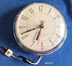 Vintage Westclox Spice Electric Wall Kitchen Diner Clock S8-E Chrome Mid Century