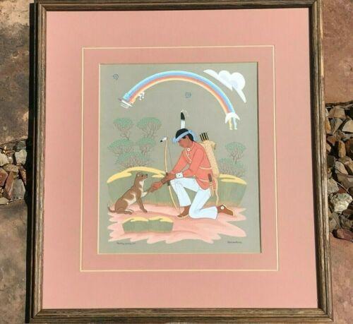 Original Painting Harrison Begay Navajo Signed Framed ARCHER HUNTER WITH HIS DOG