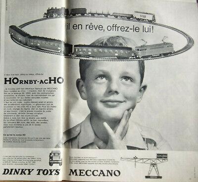 PUBLICITÉ DE PRESSE 1960 JOUETS TRAINS HORNBY-ACHO DINKY TOYS - MECCANO