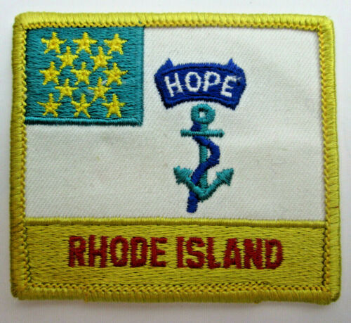 """Vintage 1980s Rhode Island Patch 13 Stars Hope over a Fouled Anchor 3"""" by 2 1/2"""""""