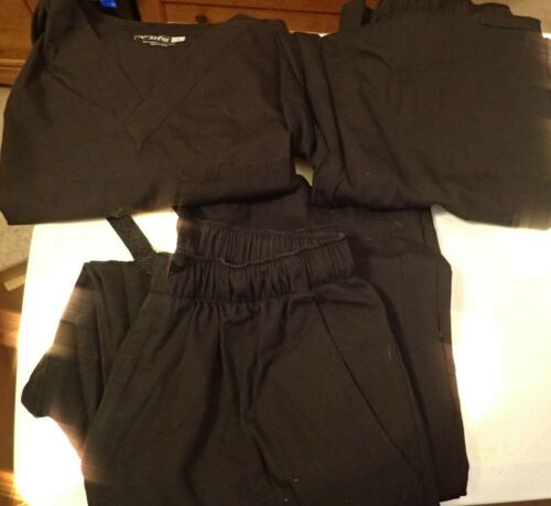 MENS CHEROKEE AND LIFE BLACK SCRUBS 1 TOP AND 3 PANTS NICE CONDITION