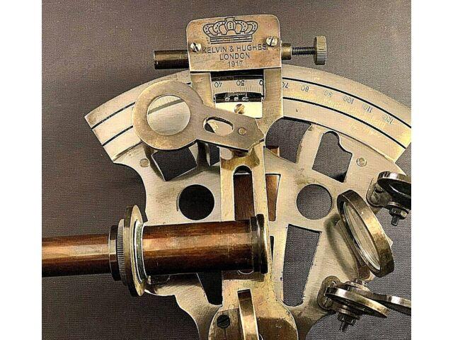 Vintage Maritime Brass Nautical Sextant Leather Case Kelvin Hughes London 1917