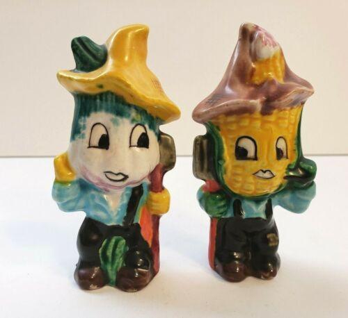 2 Vintage Anthropomorphic Vegetable Head Salt Shakers Corn Onion
