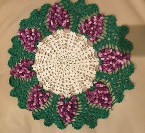 "Vintage Crocheted Doily Raised Grapes Green White Purple 16"" Centerpiece"