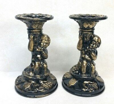 Black Glass Gold Painted Cherub Candle Holders Vintage Pair Beautiful
