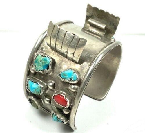 """Southwestern Alpaca Silver 1.5"""" Wide Watch Cuff Bracelet w/Red & Blue Turquoise"""