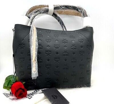 AUTH NWT MCM Klara Monogrammed Logo Prints Leather Hobo Shoulder Bag In Black