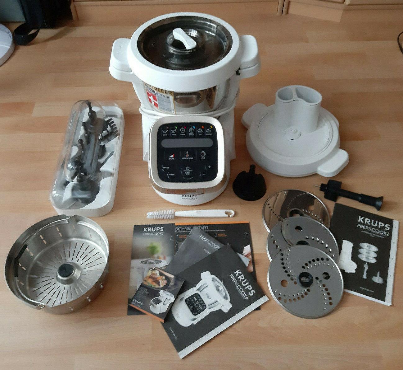 KRUPS HP5031 Prep&Cook Küchenmaschine mit Kochfunktion, weiß, 1550W mit Zubehör