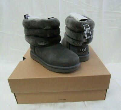 NIB/NEW UGG Australia Kids Girls Fluff Mini Quilted Charcoal Suede Boots Size 1