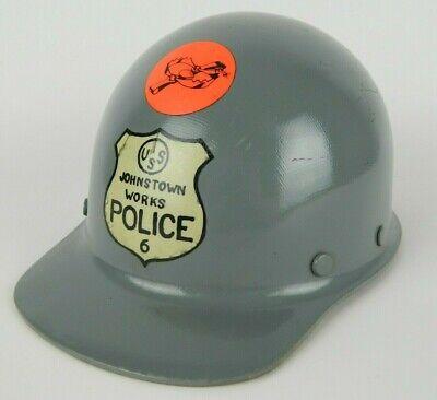 Vtg Msa Skullgard Fiberglass Hard Hat Us Steel Johnstown Works Helmet - No Liner