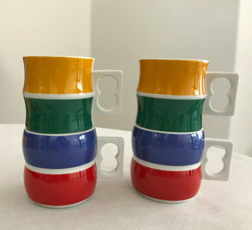 "4 MCM Block CHROMATICS Fun Mugs / Cups 3"" Germany RARE #54444 #54447"