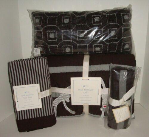 Pottery Barn Kids Sock Monkey Quilt Skirt Pillow Stroller Blanket Gray Brown