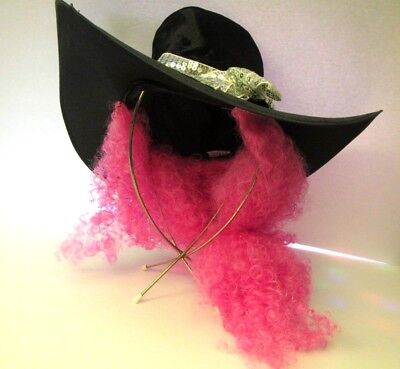 Halloween Costumes Black Curly Hair (Pink Curly Hair Wig Attached Black Large Wide Brim Hat Halloween)