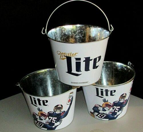 (3) New Miller Lite Football Party Beer Metal Ice Buckets Galvanized