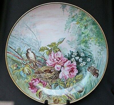 Grand plat décoratif en porcelaine de Paris ou Limoges peint à la main 40 cm d'occasion  Expédié en Belgium