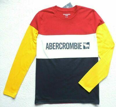 Abercrombie Kids Niños Color de Contraste Camiseta Logo Azul Talla: