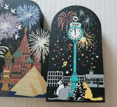 The Cat's Meow Global New Year's Eve  & Millennium Clock Lot of 2 Jaline Wooden