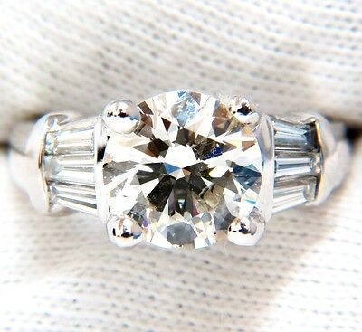GIA 3.77CT TRADITIONAL ROUND BAGUETTES DIAMOND RING PLATINUM+