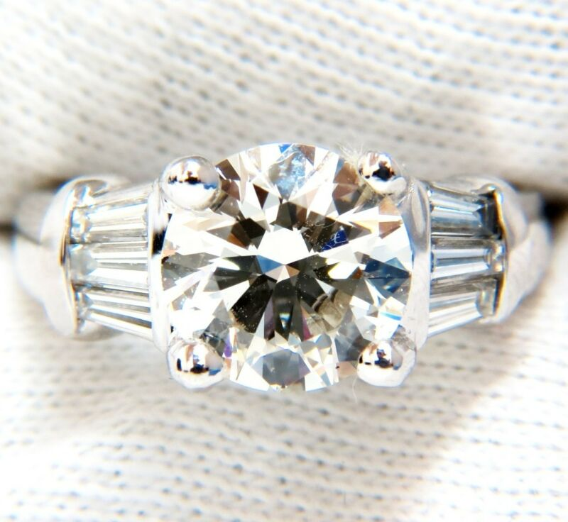 GIA 3.77CT TRADITIONAL ROUND BAGUETTES DIAMOND RING PLATINUM  $80,000 VS2 K