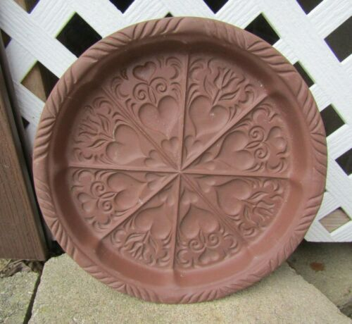 HARTSTONE POTTERY LARGE VTG BROWN SHORTBREAD COOKIE MOLD w/ hearts
