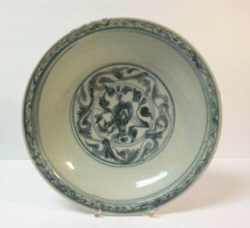 "Chinese Qing Dynasty Kangxi Celadon Blue & White Porcelain 12.5"" Bowl"