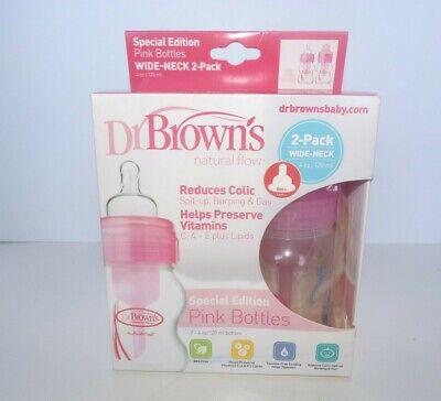New Dr. Brown's 4oz. Wide Neck Bottles in Pink, 2-pack