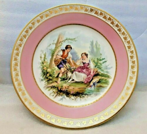 ANTIQUE SEVRES CHATEAU DE ST CLOUD 1846 SIGNED PORTRAIT PLATE PINK & GOLD 8.4