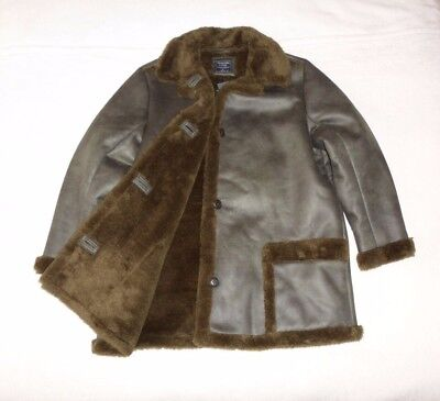 Womens Abercrombie & Fitch Faux Fur Shearling Cozy Lined Coat Shiny Jacket XL