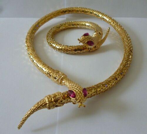 Gorgeous Egyptian Revival Inspired Gold Coiled Snake Necklace & Bracelet