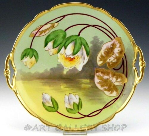 "Antique Limoges 11-3/4"" LARGE WATER LILY FLOWERS GOLD PLATE CHARGER Artist Barin"