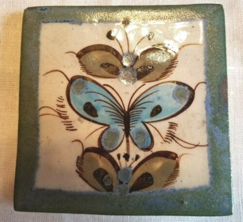 """VINTAGE MEXICAN FORK ART TILE 4 3/16"""" SQ """"BUTTERFLIES"""" HAND PAINTED"""