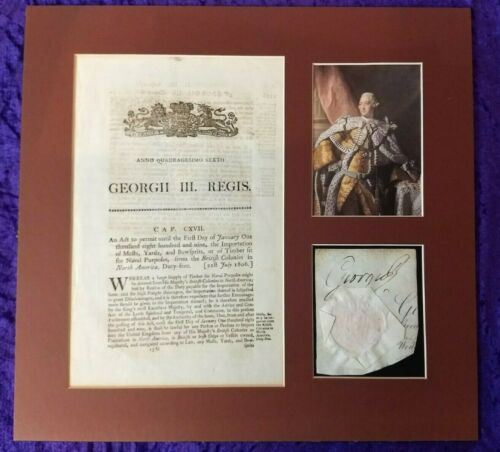 King George III Signature/Autograph & Seal piece + American colony document