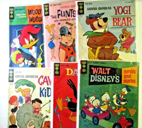 LOT of 6 SILVER AGE Gold Key Cartoon titles Flintstones, Disney & more Mid-Grade
