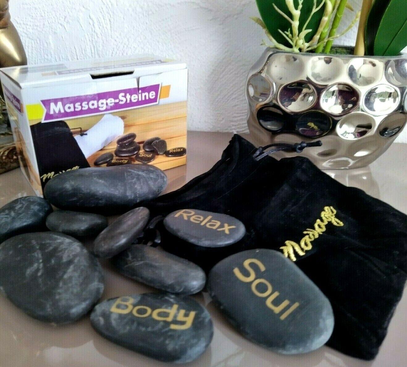 NEU & OVP!   Wellness Massage Steine 9 Stück Inklusiv Samt Aufbewahrungsbeutel
