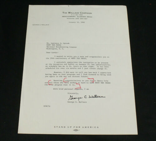 Rare George Wallace TLS Signed Letter Presidential Candidate Campaign Letterhead