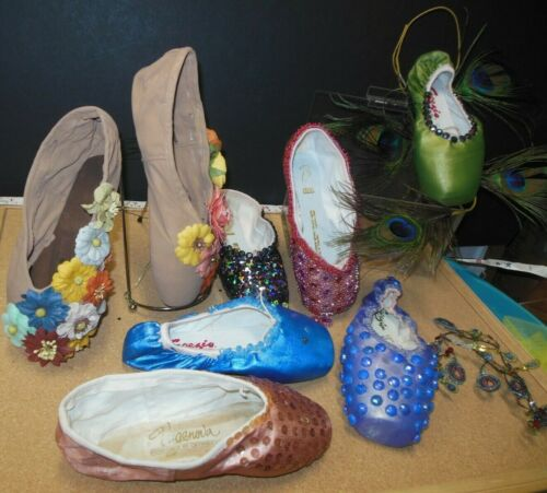 Lot of 8 decorated pointe shoes Display Ballet decor Grishko Capezio Bloch