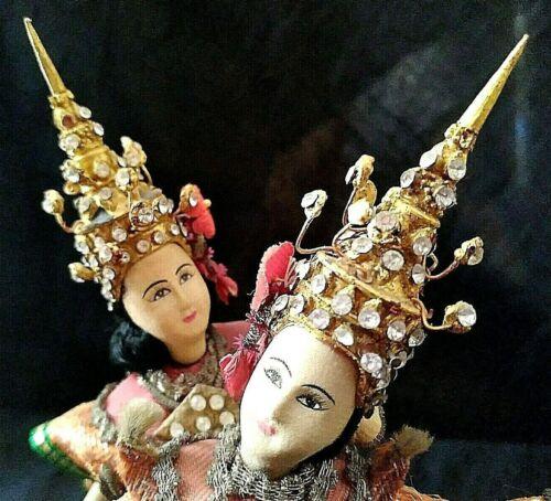 2 Thai Dancer Doll Miniature Handmade Original Asian Vtg Rhinestones Metal Trim