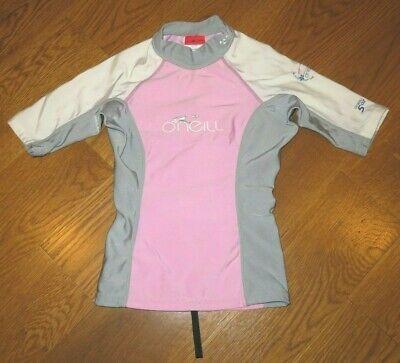fb4282b17a O'NEILL 5oz Pink/Gray/White RASH GUARD Swim Shirt UV PROTECTION Girl 4