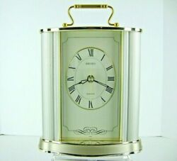 Seiko Gold & Silver Tone Carriage Mantel Clock Quartz Desk QQZ017S Japan 9 x 6