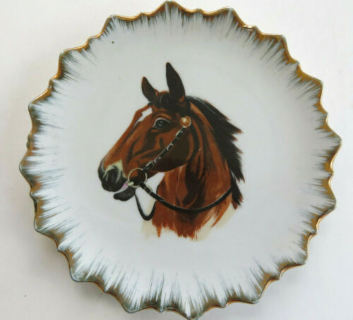 Vintage Gold Rimmed Horse Head Plate Made in Japan Beautiful Bay With Bridle