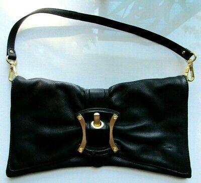 B MAKOWSKY Black Bow Leather Gold Buckle Belt Clutch Shoulder Bag Purse EUC