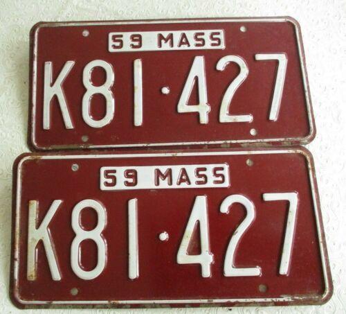 1959 Massachusetts License Plate Tag K81 427 pair