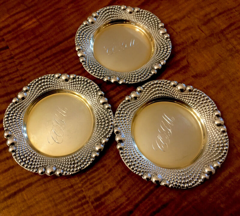 Three Sterling Silver Matching Butter Pats