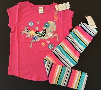 Gymboree Tee & Leggings Glitter Horse Flower Outfit NWT 4 5 6