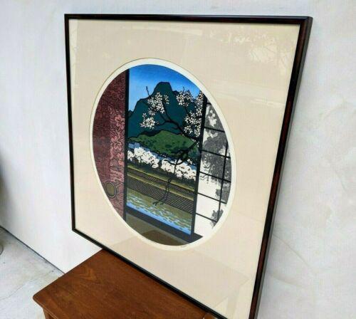 "Japanese Clifton Karhu ""Kamogawa Cherries"" Woodblock"