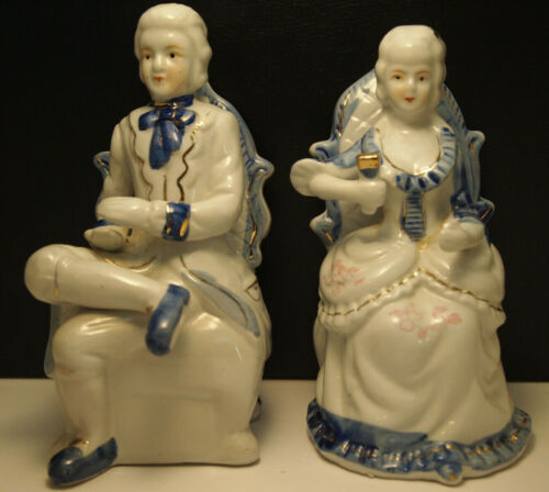 "Vintage Porcelain 6.5"" Aristocrat Figurine Set - Blue & White French Style China"