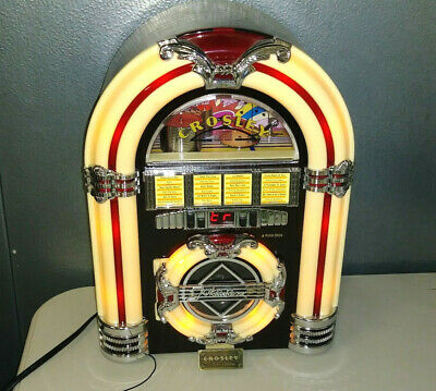 CROSLEY CR11CD MINI JUKEBOX AM/FM RADIO CD PLAYER W/ LIGHTS & MANUALS!